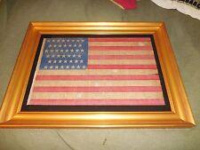 "Framed 45 Star Antique American Flag 34 1/2"" x 26"" Unique Pattern"
