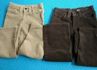 L.L. Bean Girls' Corduroy Pants Size 5-6 Brown Beige 11W x 26L Lot of 2 EUC/NWOT