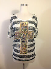 New Vocal Vintage Women's Top (cold shoulders with embellished cross)