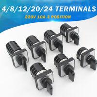 Umschalter LW8-10 3 Position 4-24 Terminals 220V Nockenschalter Drehschalter