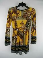 Fashion Nova Women's sz S Yellow Polyester Blend Printed Stretch Sleeve Romper