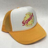 Squirt Soda Pop Trucker Hat Vintage 80's Mesh Back Snapback Cap! Lemon Yellow