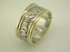 Gents 14k Gold and White Gold Irish Handcrafted Celtic Claddagh Wedding Ring