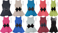WOMENS LADIES PEPLUM BOW BODYCON SLEEVELESS FRILL SKATER FLARED VEST TOP 8-14