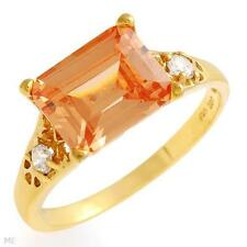 SUPERB ORANGE COCKTAIL RING IN 14K YELLOW GOLD OVER 925 STERLING SILVER - 9.5