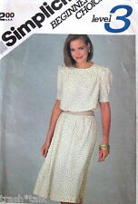 Vtg 80s dress pattern pullover sz 12 B34 jewel neckline