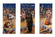3 panel circus clowns trapeze animals tricks juggler wall art print poster 12x18