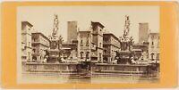 Italia Boulogne Fontana Nettuno Foto Stereo Th1L6n22 Vintage Albumina c1870