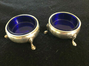 """Frank M. Whiting """"George II"""" Sterling Silver Salt Cellars With Glass Inserts"""