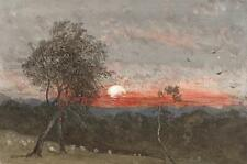 GENERAL GEORGE CHARLES D'AGUILAR Painting IMPRESSIONIST SHEEP IN SUNSET c1840