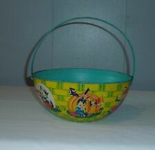 Rare Antique Tin Litho Toy Sand Pail Basket Shaped Chein 1940s-1950s