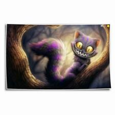 "8""x12"" Cat Alice In Wonderland Paint HD Canvas print Home decor Wall art Picture"