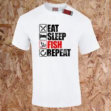 Eat Sleep Poisson Répéter T-Shirt Pêcheur Pêche Drôle Carpe Présent Père S-5XL