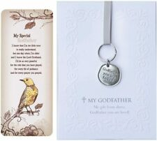 Godfather Gift Set: You are Loved Pewter Keychain, Embossed Notecard & Bookmark