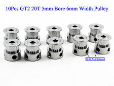 US 10Pcs GT2 20T 5mm Bore 6mm Width Pulley For RepRap 3D printer Prusa Prusa CNC