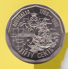 1988 First Fleet Ship Australia 50 Fifty Cent UNC Uncirculated Coin ex UNC Set