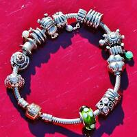 "Authentic Pandora 14k gold lock 925 silver 7.5"" charm bracelet w/14 charms 54.8g"