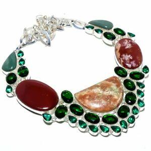 "Red Jasper & Tsavorite 925 Sterling Silver Jewelry Necklace 16-18"" S2024"