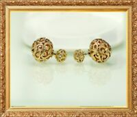 Earrings Nails Golden Art Deco Double Pearl Filigree Metal Fine EE10