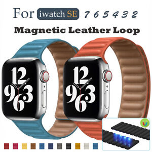 For Apple iWatch Series 7 6 5 4 3 Magnetic Leather Loop Replace Watchbands Strap