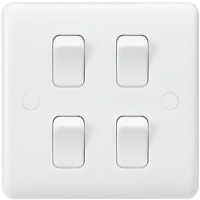 White Curved Edge Wiring Accessories 10A 4G 2-Way Switch (on single plate)