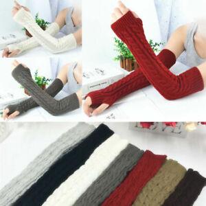 Men Women Knit Sleeve Gloves Wrist Arm Warmer Ride Fingerless Hand Long Mitten K