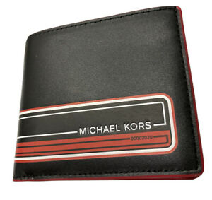 Michael Kors Kent Sport Stripe Billfold Wallet Genuine Leather Black Red $148