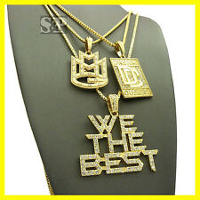 ICED OUT MMG, DREAM CHASERS & WE THE BEST PENDANT & CHAINS HIP HOP NECKLACE SET