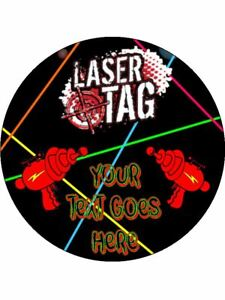 Laser Tag Game Battle personalised wafer or Icing edible Round Cake topper