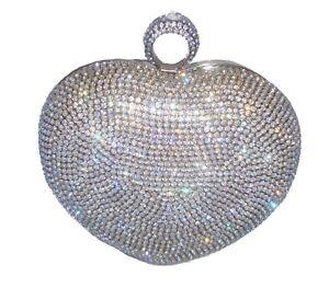 Unique Silver Diamante Crystal Heart Evening bag Clutch Purse Party Wedding Prom