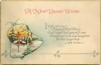 DB Postcard E452 A New Year Wish Bell Vignette with Snow Covered Cottage Trees