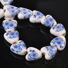 10pcs14mm Heart Geramic Loose Spacer Beads Jewerly Making Deep Blue Plum Blossom