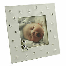 Bambino Silver Plated & Cream Stars & Moon Teddy Baby Photo Frame CG122933