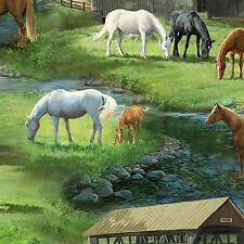 Horses Running Free Meadow Scenic CP67474 Springs Quilting Cotton Fabric YARD