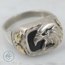 Sterling Silver | 12K Gold Accent Eagle Cigar Band 8.9g | Ring (11) Mens MA7823