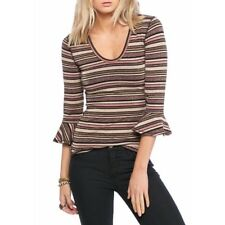 d2ee933ff0a21 FREE PEOPLE Surprise Party NWOT 3 4 Sleeve Striped Top Tee L RRP  87