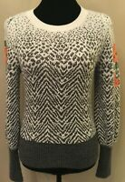 By Anthropologie Womens Sweater Small Gray Chevron Embroidered Sleeve Wool Blend
