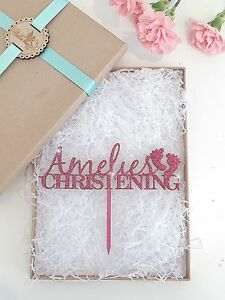 Personalised Christening Cake Topper, Wooden Cake Topper, Glitter Cake Topper