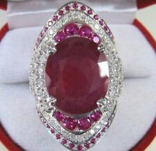 3cm Silver Plated Facet Cut Red Ruby Cubic Zirconia Paved Halo Ring Statment Sz8