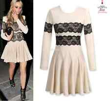 Womens Beige Black Lace Stretch Dress Full Sleeve fitted Party Cocktail frill
