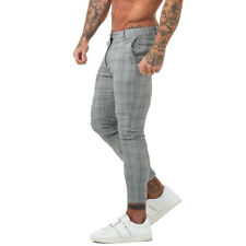 GINGTTO Designer Men Skinny Chinos Stretch Slim Fit Gray Check Tartan Trousers