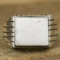 Navajo Native American Sterling Silver White Buffalo Ring Size 11.75 Ray Jack
