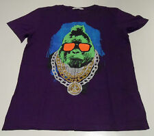 "H&M Purple T Shirt Lime Faced Ape With Orange Shades & Medallion Print 38""Chest"