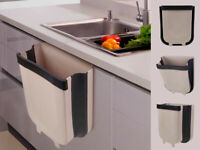 Hanging Trash Can for Kitchen Cabinet Door, Collapsible Garbage Bin Bedroom Car