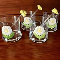Vintage Whiskey Lowball Glasses Daisy Flower with Bumble Bee Stirrers Lot of 4