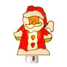 Stained Glass Santa Manual Night Light,On/Off,Bulb Included,Christmas
