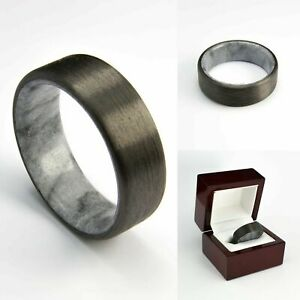 Ring For Men Women Wedding Band Ring Carbon Fiber Ring with Real Natural Marble