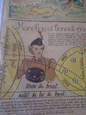 """PATRON ORIGINAL POUR LA POUPEE """" BLEUETTE MANCHON ET BONNET FEVRIER 1938"""