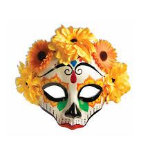 Day Of The Dead Yellow Senorita Flowers Mexican Skull Women Costume Female Mask