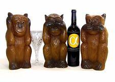"Hear / See / Speak No Evil Extra Large Hand Carved Hardwood Monkeys 12"" Tall"